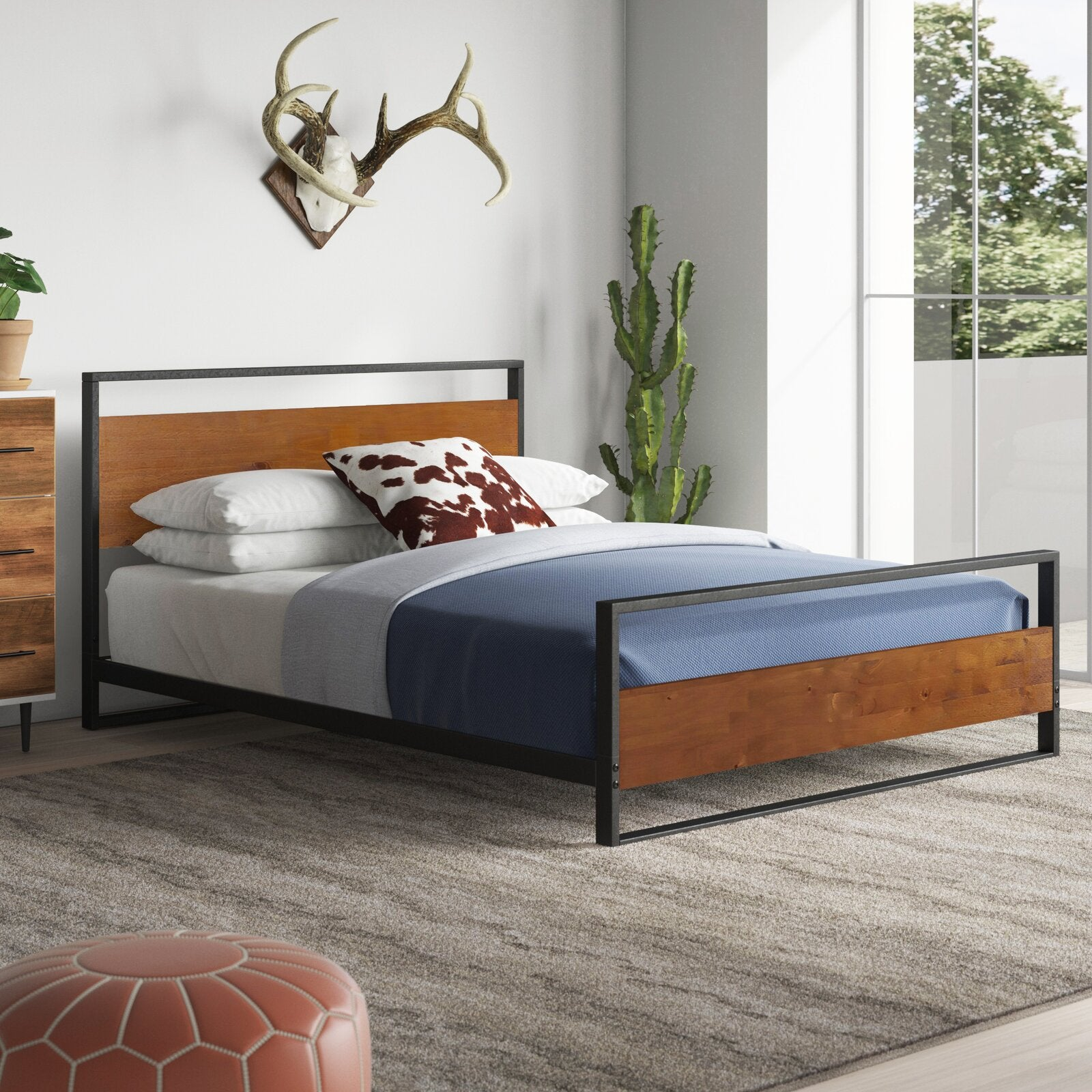 Zinus Suzanne Metal And Pine Wood Platform Bed Frame With