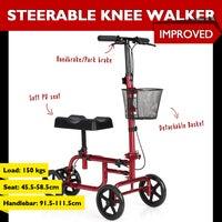 Folding Steerable Knee Walker Mobility Scooter w/Park Brake Detachable Iron Basket