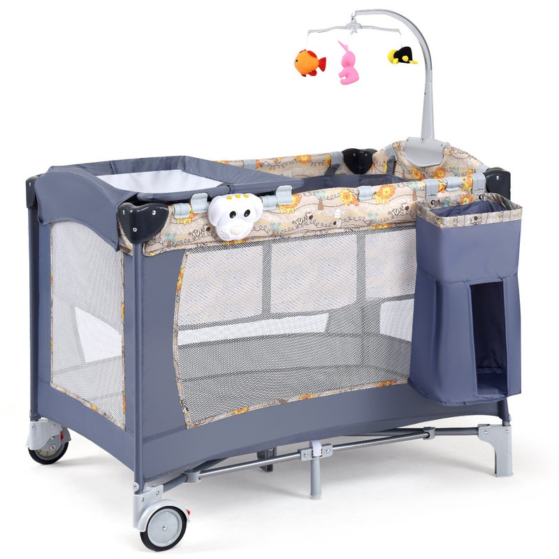All In 1 Foldable Travel Cot Baby Crib Playpen Bassinet ...