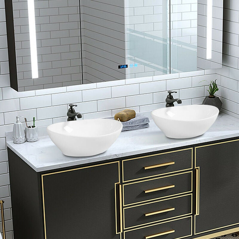 Ceramic Basin Bathroom Sink Above Counter Top Oval W ...