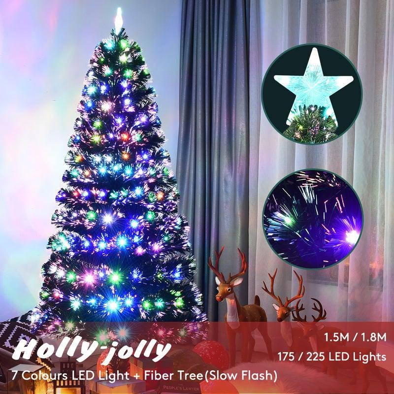 7 5 Fiber Optic Christmas Tree: Christmas Tree 7 Colour LED Lights Slow Flashing + Optic