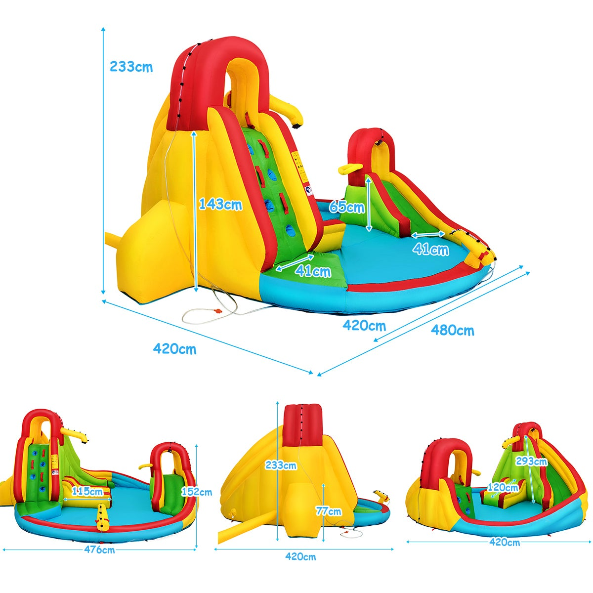 Inflatable Water Slide, w/ Double Slides, Jumping Castle ...