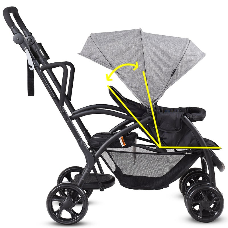 Ultra 2in1 Stand&Ride Twin Baby Stroller Toddler Bassinet ...