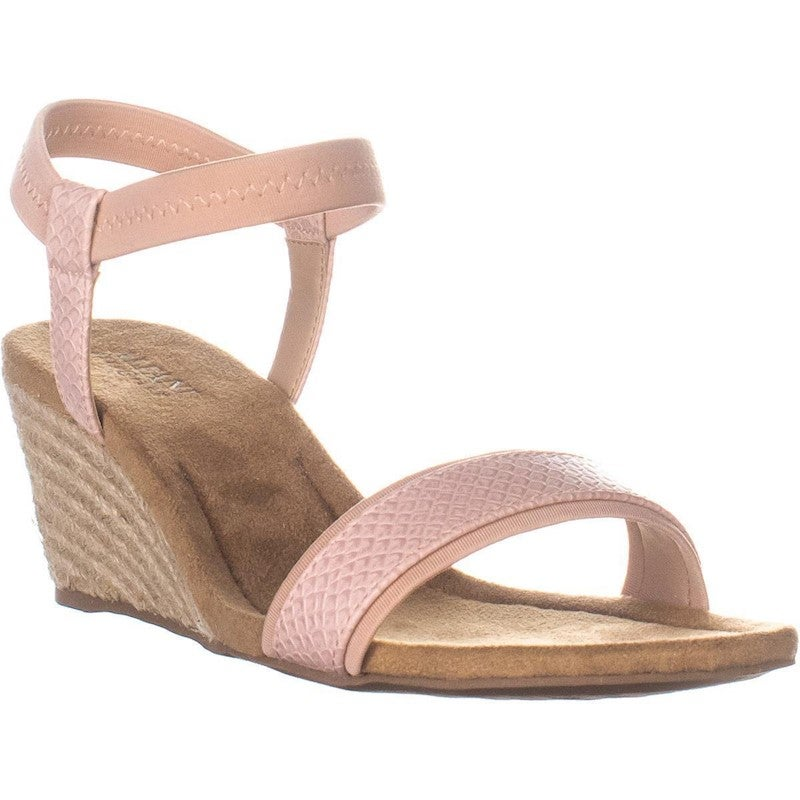 A35 Gillee Ankle Strap Wedge Sandals, Dusty Rose Snake