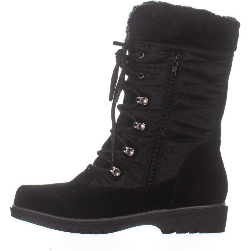 Baretraps Satin Lace Up Snow Boots Black Waterproof Buy