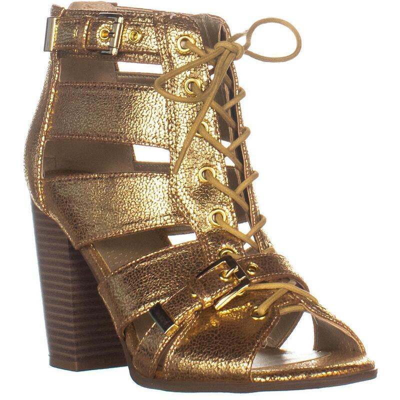 G by Guess Portlyn Lace Up Heeled Sandals, Gold