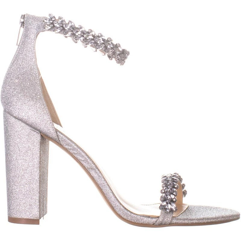 Jewel by Badgley Mischka Jewel Mayra Heeled Sandals, Silver Glitter