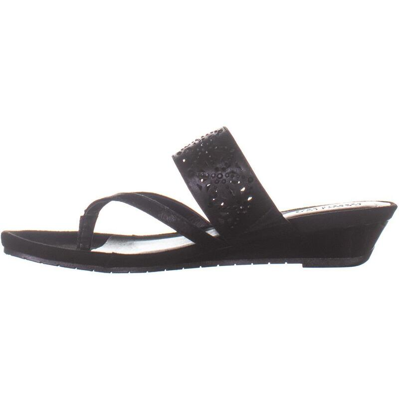 Kenneth Cole Great Chime Low Thong Wedge Sandals, Black