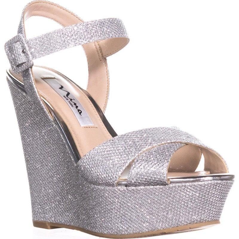 Nina Jinjer Platform Wedge Dress Sandals, Silver
