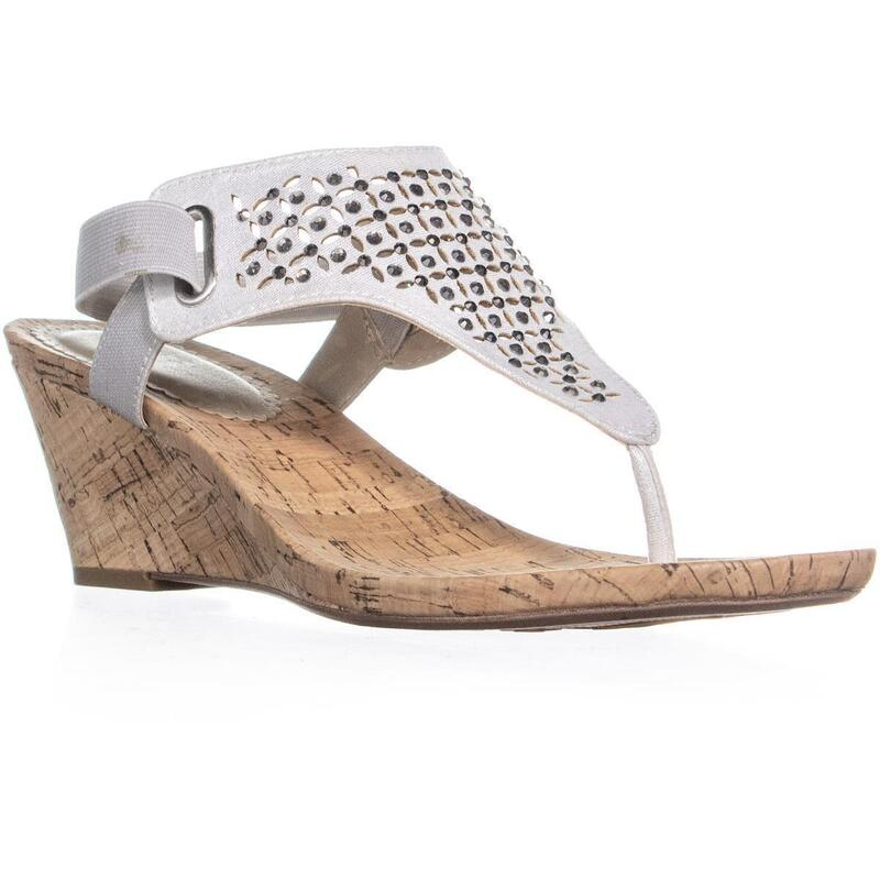 White Mountain Arnette T Strap Wedge Sandals, Silver