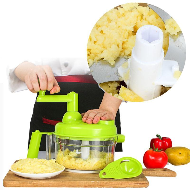 Kitchen Manual Cutting Machine Hand-cranked Meat Pepper Grinder Vegetable  Slicer Machine with Stainless Steel Blade (Green)