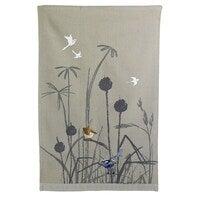The Linen Press Organic Cotton Blue Wren Grassland Tea Towel