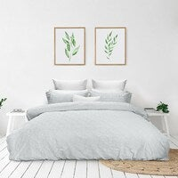 Bas Phillips Avalon Cotton Queen Bed Quilt Cover Set Oasis Silver