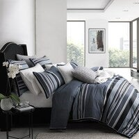 Private Collection Pierre Cotton Super King Quilt Cover Set Navy