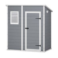 KETER Manor Pent 6x4 Outdoor Storage/Garden Shed (European Grey/White)