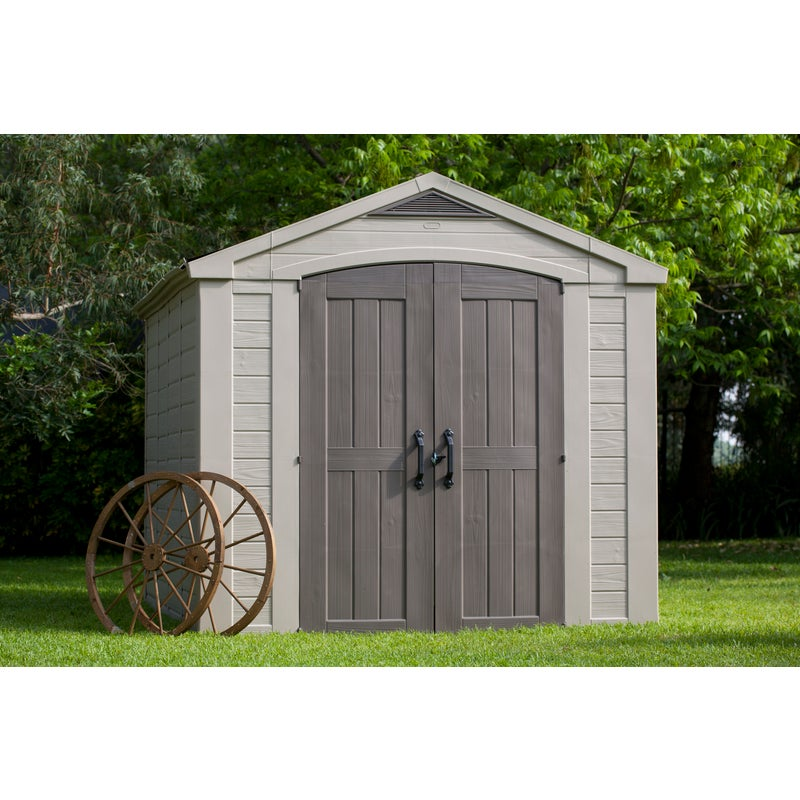 Keter Factor 8x11 Large Outdoor Storage Garden Shed Taupe