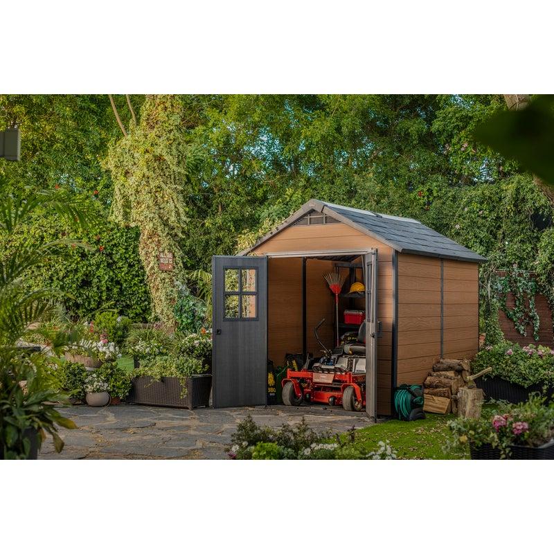 Keter Newton 757 Large Outdoor Storage Garden Shed Brown