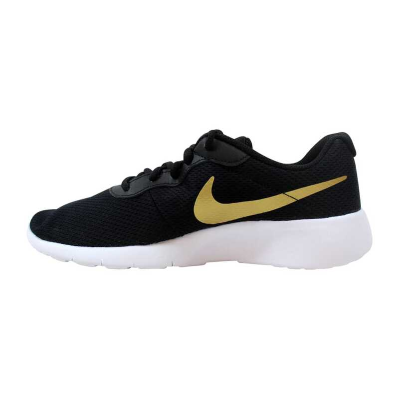Black//Metallic Gold//White Big Kids Running Shoes 818381 016 Nike Tanjun GS