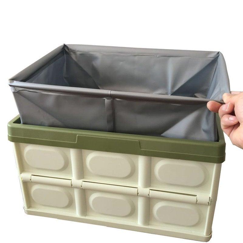 3 x 56L Collapsible Storage Bins w/ Lids Folding Plastic ...