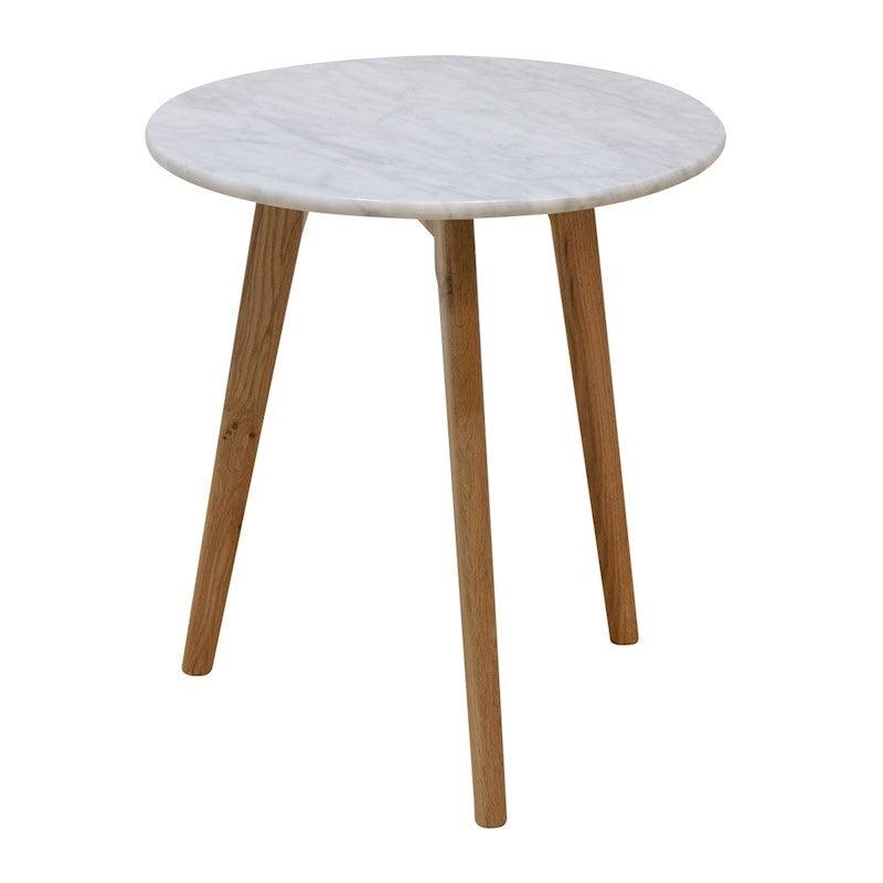 Oia White Marble Side Table Oak Buy Side Tables 1068879