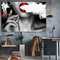 Wall Art Canvas Paintings 1 Pc Graffiti U.S.Dollar Money Clouds Girl sexy lips Abstract Poster Pictures Home Decor Living Room