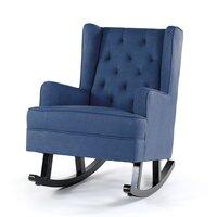 Isla Wingback Rocking Chair Navy Black Legs