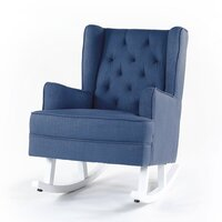 Isla Wingback Rocking Chair Navy White Legs