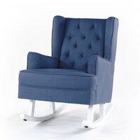 Isla Wingback Rocking Chair Navy White Legs