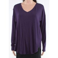 INC Women's Shirt Purple Size Medium M Shirt-tail Round Hem Blouse