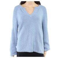 INC Women's Sweater Blue Size Large L Split Neck Fuzzy Pullover Top