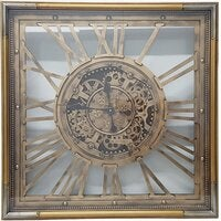 Square 80cm Roma moving cogs clock - Gold w/ silver