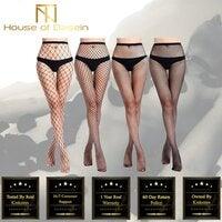 High Waist Fishnet Stockings Erotic Lingerie Hosiery BDSM Kink Fetish