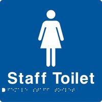 AS1428 Compliant Staff Toilet Sign Female Braille BLUE FSffT 180x180x3mm