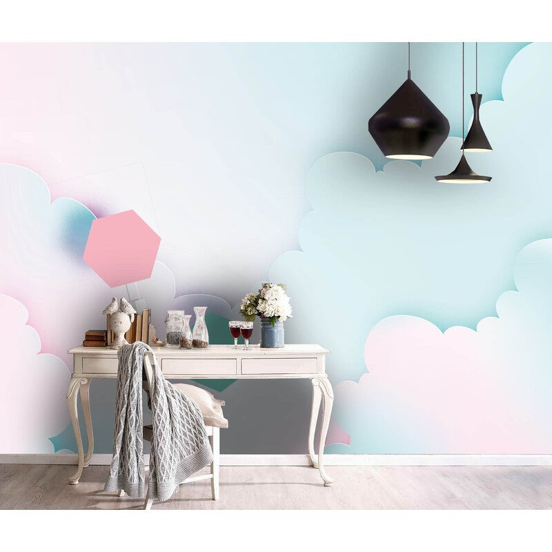 3D Abstract Blue Sky White Cloud Parachute Wall Mural