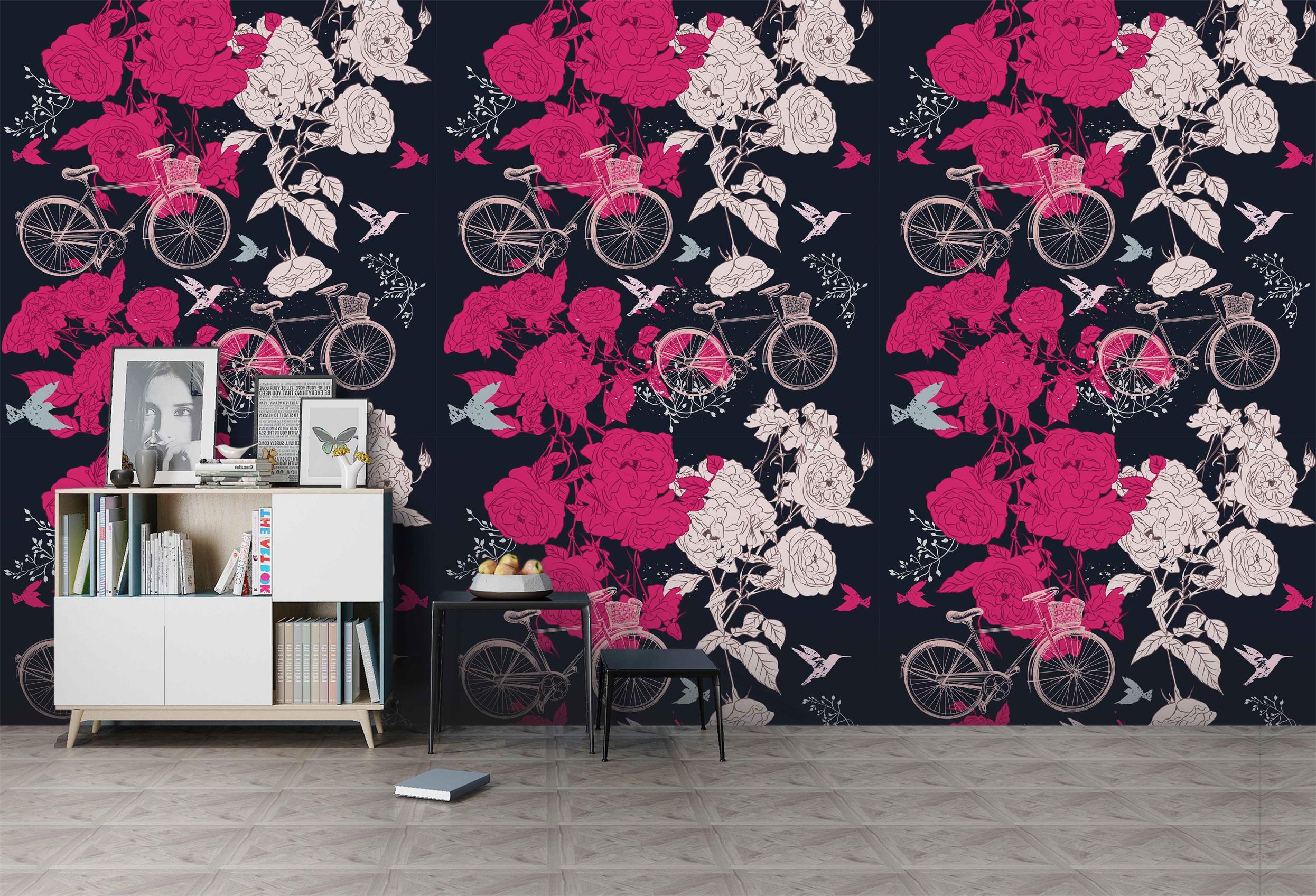 3D Pink Flower Bike Wall Mural Wallpaper A076 LQH