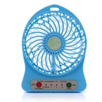 Mini 18650 Rechargeable USB Handheld Cool Fan 3 Speed Modes for Desk / Table Blue Color